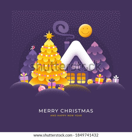 Merry Christmas and Happy New Year greeting card. Cute Xmas story, magic winter snowy landscape with house and spruces. Unusual bright design with dot texture. Easy to use and customisable. Vector.