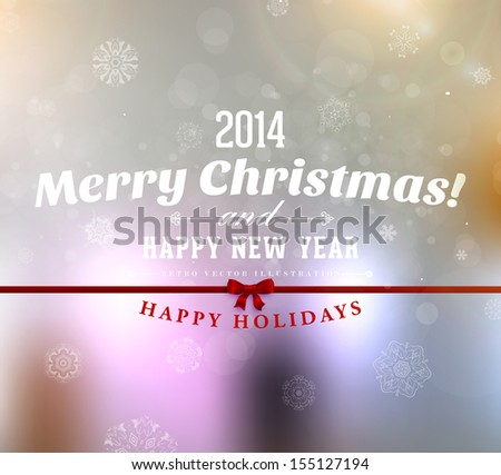 Merry Christmas and Happy New Year greeting card design. Xmas blur background with snowflakes, shiny bokeh background