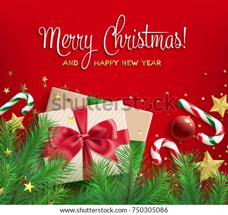 merry christmas and happy new year greeting card gift box tied with ribbon with red