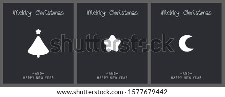 Merry christmas and happy new year greeting card. Greeting card with the inscription, Christmas tree, moon and star. Vector illustration.