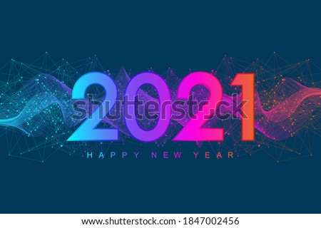 Merry Christmas and Happy New Year 2021 greeting card. Modern futuristic template for 2021. Digital data visualization. Business technology concept. Vector illustration.