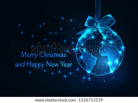 Merry Christmas and Happy New Year greeting card template with earth world globe as a hanging ball and ribbon bow , stars and text on dark blue background. Modern wire frame design vector illustration