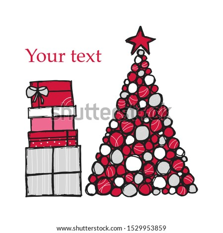 Merry Christmas and Happy New Year greeting card vector. Greeting card with hand-drawn Christmas tree and gift boxes with space for text.