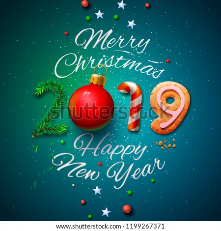 Merry Christmas and Happy New Year 2019 greeting card, vector illustration. - Shutterstock ID 1199267371