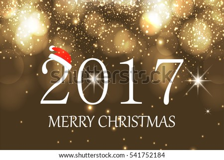 Merry Christmas and Happy New Year 2017 greeting card, vector illustration #541752184