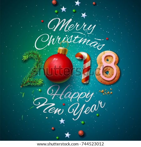 Merry Christmas and Happy New Year 2018 greeting card, vector illustration. #744523012