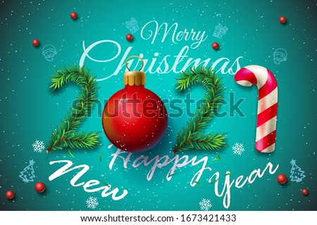 Merry Christmas and Happy New Year 2021 greeting card, vector illustration - New Year 2021 greeting card - New Year 2021 and Merry Christmas greeting card vector illustration - Merry Christmas 2020
