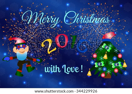 Merry Christmas and Happy New Year 2016 greeting card with beautiful fireworks in the night. Shining Christmas background. Vector illustration. #344229926