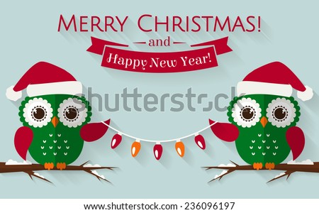 merry christmas and happy new year greeting card with cute owls in santa hats