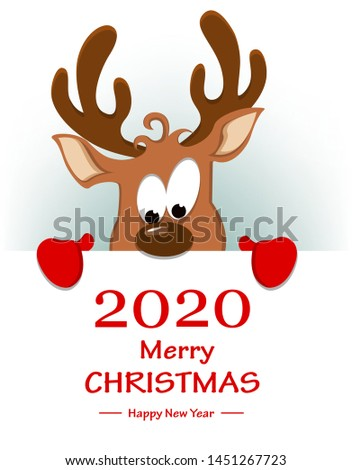 Merry Christmas and Happy New Year greeting card with funny reindeer standing behind placard with greetings. Vector illustration