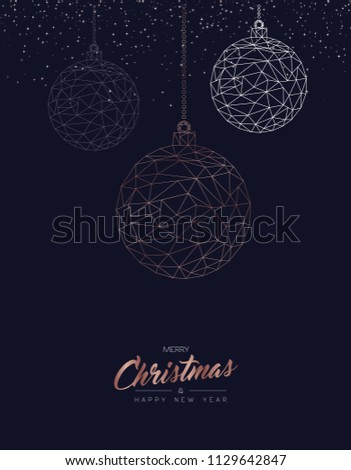 Merry Christmas and Happy New Year greeting card with luxury xmas ornament bauble in abstract geometric line style, copper color holiday illustration. EPS10 vector.