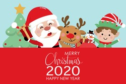 Merry Christmas and happy new year greeting card with Santa Claus, reindeer, snowman and little elf. Cute holiday cartoon character vector.