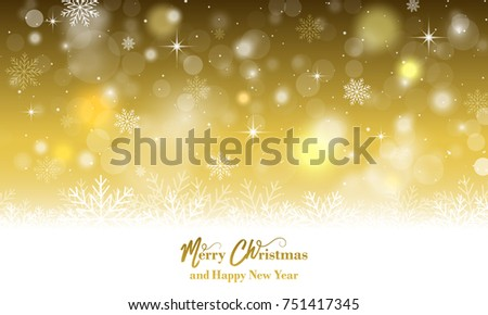 Merry Christmas and Happy New Year greeting card with snowflakes. Vector illustration.