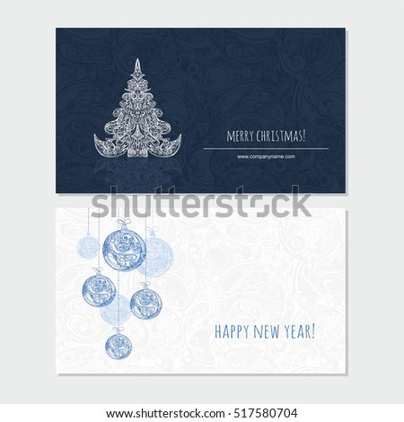 Merry Christmas and Happy New Year greeting card with xmas tree and xmas decoration. Seasonal  banner template.