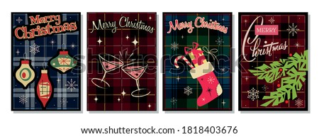 Merry Christmas and Happy New Year Greeting Cards 1950s, 1960s Postcards Style, Plaid Tartan Patterns Backgrounds, Chrismas Tree and Decorations, Cocktail Drinks, Gifts