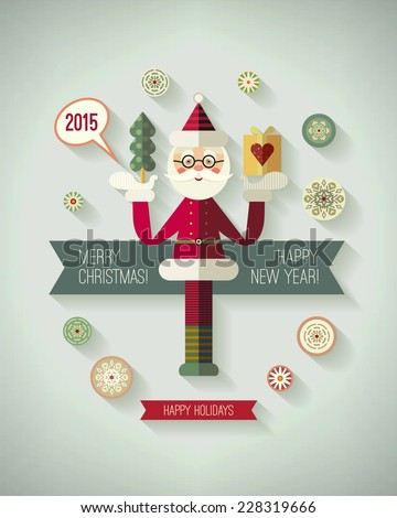 Merry christmas and happy new year greeting postcard Christmas card with Santa Claus christmas tree gift snowflakes and 2015 label in flat style holiday illustration