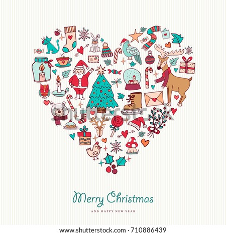 Merry Christmas And Happy New Year Hand Drawn Holiday Icons In Heart Shape Includes Deer