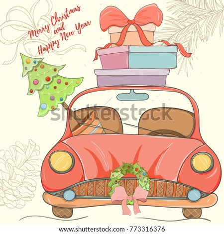Merry Christmas and Happy New Year hand drawn vector illustration. Bright colorful car with presents on light background can be used for invitation, card, banner template, flyer, sale and website #773316376