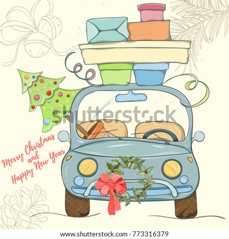 Merry Christmas and Happy New Year hand drawn vector illustration. Bright colorful car with presents on light background can be used for invitation, card, banner template, flyer, sale and website #773316379