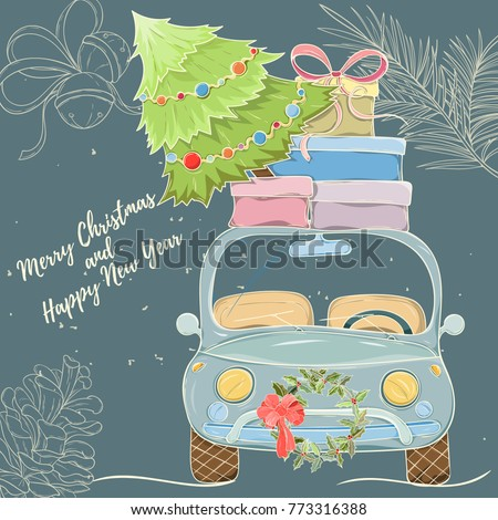 Merry Christmas and Happy New Year hand drawn vector illustration. Bright colorful car with presents on dark background can be used for invitation, card, banner template, flyer, sale and website #773316388
