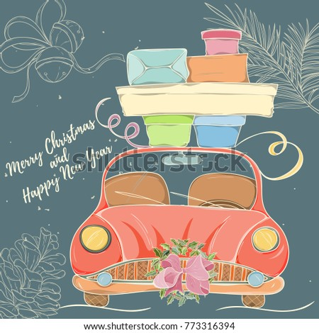 Merry Christmas and Happy New Year hand drawn vector illustration. Bright colorful car with presents on dark background can be used for invitation, card, banner template, flyer, sale and website #773316394
