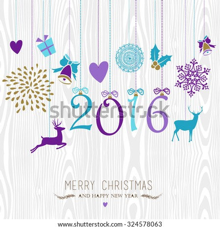 merry christmas and happy new year 2016 hanging vintage xmas ornaments hipster wood background