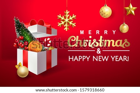 Merry Christmas and Happy New Year Holiday banner with snowflakes and gift box full of Christmas decorations, gifts in red background. Fir tree, pine, orange, Christmas ball and red berries  in box