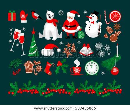 merry christmas and happy new year icon and holly berry border collection in modern flat style