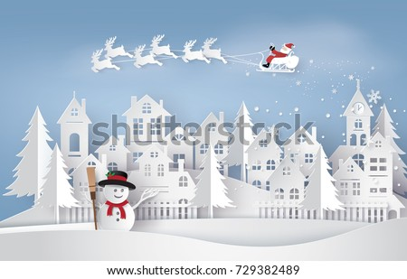 Merry Christmas and Happy New Year. Illustration of Santa Claus on the sky coming to City ,paper art and craft style #729382489