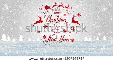 Merry Christmas and happy New Year inscription decorated with red snowflakes and santa claus on the winter background. Vector illustration. - Shutterstock ID 1209143719