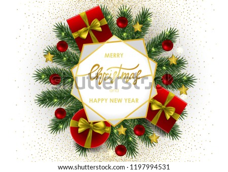 Merry Christmas and Happy New Year invitation card with gold geometric frame on white background. A4 template with fir tree template for greeting winter holiday cards, posters, covers with text place. #1197994531