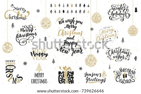 Merry Christmas and Happy New Year lettering design collection. Hand drawn elements. Vector illustration for banners, greeting cards, postcards