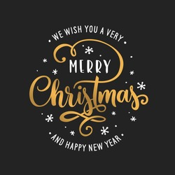 Merry Christmas and Happy New Year lettering template. Greeting card invitation with golden snowflakes. Winter holidays related typographic quote. Vector vintage illustration.