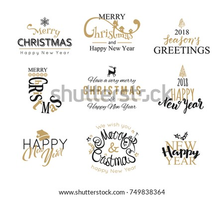 Merry Christmas and Happy New Year lettering typography set. Holiday text design for banner, poster, greeting card, brochure. Vector illustration eps 10 format.