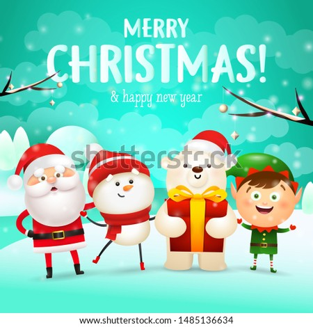 Merry Christmas and Happy New Year lettering with cartoon characters. Christmas greeting card. Typed text, calligraphy. For leaflets, brochures, invitations, posters or banners.