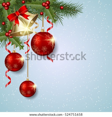 Merry Christmas and Happy New Year light blue vector background with fir branches, luxury balls and bells #524751658
