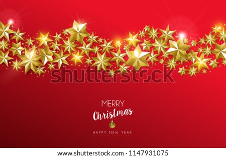 Merry Christmas and Happy New Year luxury gold star decoration design on festive red background. Ideal for greeting card or elegant holiday party invitation. EPS10 vector. #1147931075