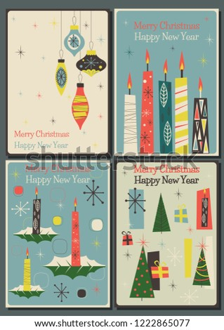 merry christmas and happy new year mid century greeting cards style shutterstock id 1222865077