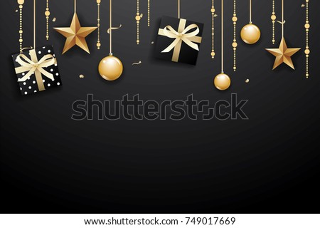 Merry christmas and happy new year on dark background with luxury gold ball, gift box, and star. #749017669