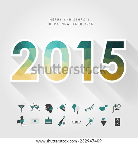 merry christmas and happy new year 2015 on polygon number concept with party icon vector