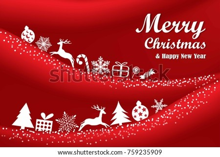 Merry Christmas and Happy New Year on red background. Greeting Card Xmas. Vector Illustration. #759235909