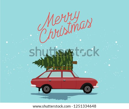 Merry Christmas and Happy New Year Postcard or Poster or Flyer template with car with christmas tree. Vintage styled vector illustration. #1251334648