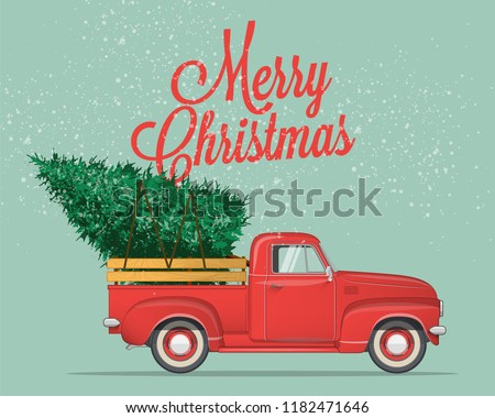 stock-vector-merry-christmas-and-happy-new-year-postcard-or-poster-or-flyer-template-with-retro-pickup-truck