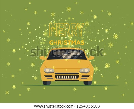 merry christmas and happy new year postcard or poster or flyer template with retro pickup truck