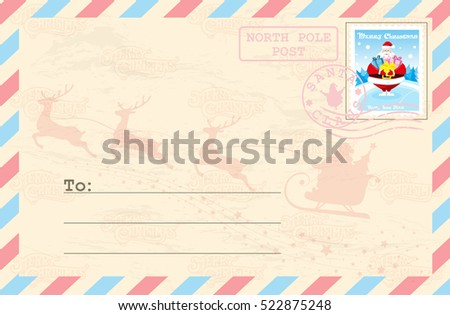 Merry Christmas And Happy New Year Postcard With Postage Stamp Cute Santa Claus Outdoor