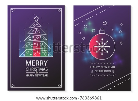 Merry Christmas and Happy New Year posters set, vector illustration. Can be used for invitation, flyer, etc. - Shutterstock ID 763369861