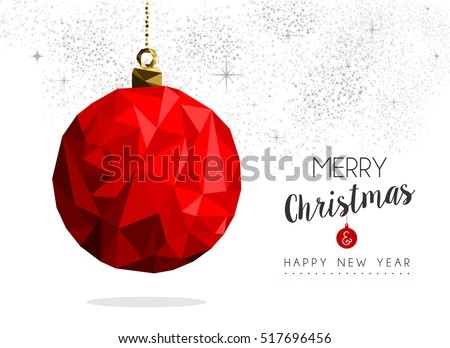 Merry christmas and happy new year red xmas bauble ornament in low poly style, holiday decoration card design. EPS10 vector.