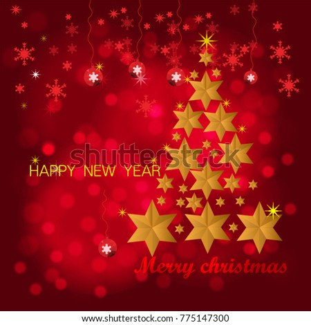 Merry christmas and happy new year red xmas pine #775147300