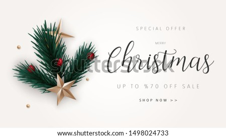Merry Christmas and Happy New Year sale banner background with gold stars, holly berries and pine tree leaves. Xmas vector illustration web banner for greeting card, website, banner, headers.