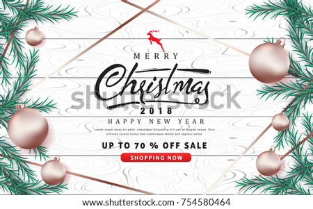 merry christmas and happy new year sale banner background with rose gold christmas ball ornament